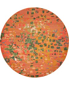 Bridgeport Home Adah Ada1 Orange 8' x 8' Round Area Rug