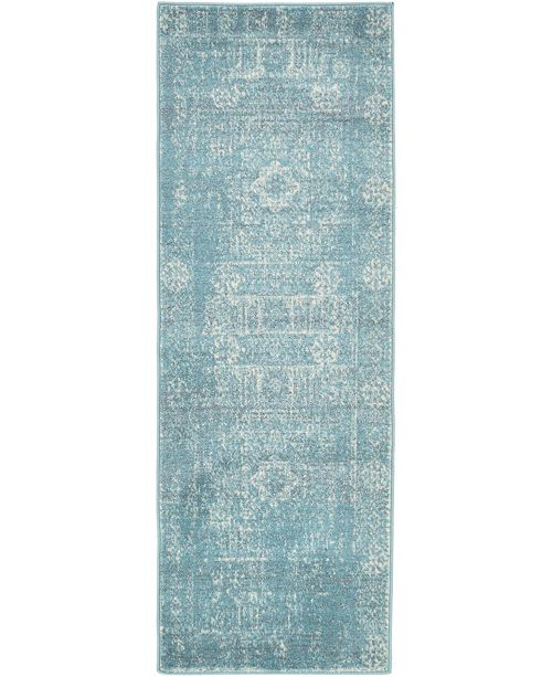 "Bridgeport Home Wisdom Wis3 Light Blue 2' 2"" x 6' Runner Area Rug"