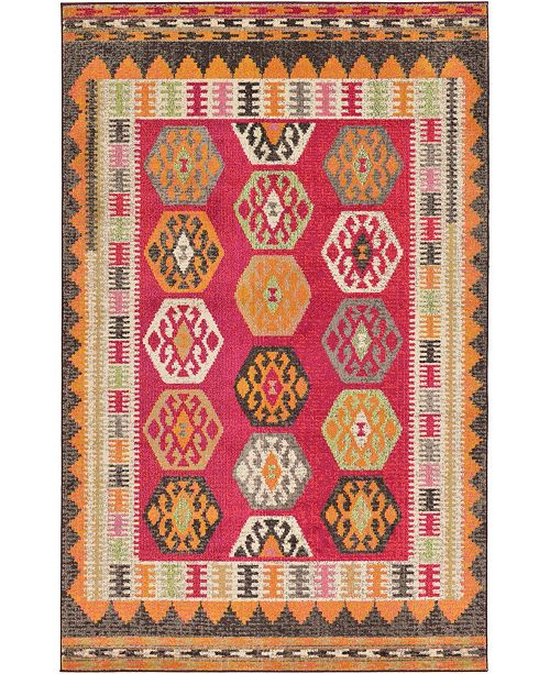 Bridgeport Home CLOSEOUT! Arcata Arc8 Red 5' x 8' Area Rug