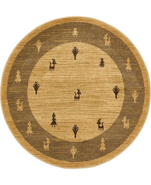 "Bridgeport Home Ojas Oja1 Tan 3' 3"" x 3' 3"" Round Area Rug"