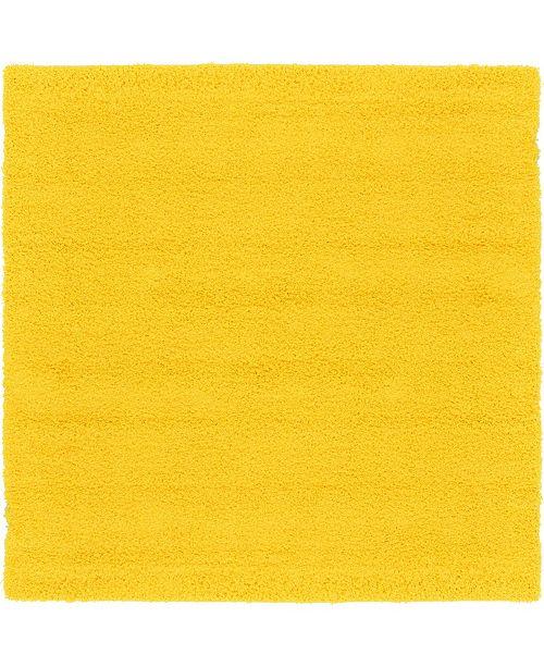 "Bridgeport Home Exact Shag Exs1 Tuscan Sun Yellow 8' 2"" x 8' 2"" Square Area Rug"