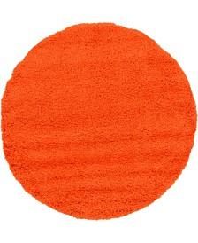 Bridgeport Home Exact Shag Exs1 Tiger Orange 6' x 6' Round Area Rug