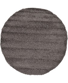 Bridgeport Home Exact Shag Exs1 Graphite Gray 6' x 6' Round Area Rug