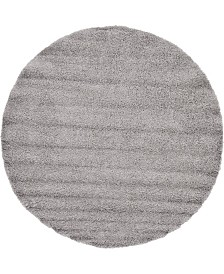 "Bridgeport Home Exact Shag Exs1 Cloud Gray 8' 2"" x 8' 2"" Round Area Rug"