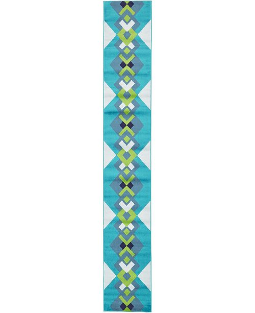 Bridgeport Home Politan Pol2 Turquoise 2' x 13' Runner Area Rug