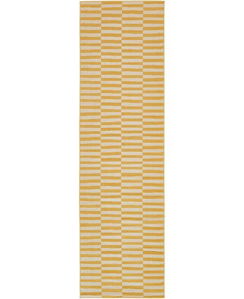 "Bridgeport Home Axbridge Axb2 Yellow 2' 9"" x 9' 10"" Runner Area Rug"