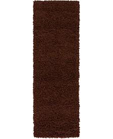 "Exact Shag Exs1 Chocolate Brown 2' 2"" x 6' 5"" Runner Area Rug"