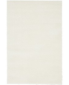 Salon Solid Shag Sss1 White 4' x 6' Area Rug