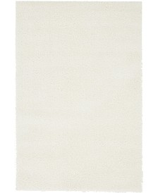 Bridgeport Home Salon Solid Shag Sss1 White 4' x 6' Area Rug