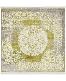 Norston Nor4 Light Green 4' x 4' Square Area Rug