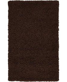 "Bridgeport Home Exact Shag Exs1 Chocolate Brown 3' 3"" x 5' 3"" Area Rug"