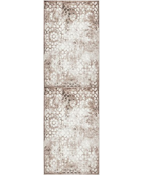 "Bridgeport Home Basha Bas5 Brown 2' x 6' 7"" Runner Area Rug"