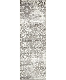 "Basha Bas7 Gray 2' x 6' 7"" Runner Area Rug"