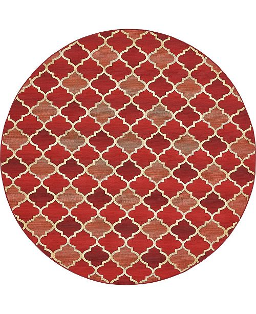 Bridgeport Home Pashio Pas1 Red 8' x 8' Round Area Rug