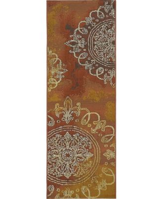 Pashio Pas2 Rust Red 2' x 6' Runner Area Rug