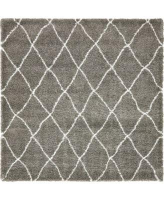Fazil Shag Faz3 Gray 8' x 8' Square Area Rug