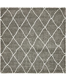 Bridgeport Home Fazil Shag Faz3 Gray 8' x 8' Square Area Rug