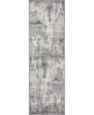 "Basha Bas6 Dark Gray 2' x 6' 7"" Runner Area Rug"