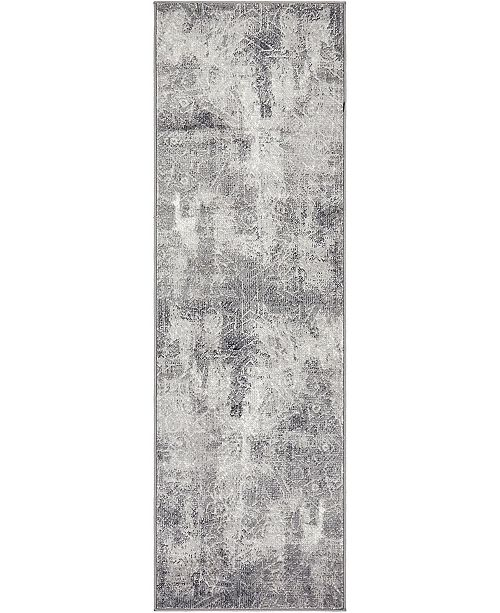"Bridgeport Home Basha Bas6 Dark Gray 2' x 6' 7"" Runner Area Rug"