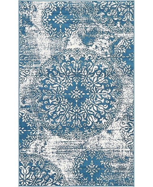 """Bridgeport Home Basha Bas7 Blue 3' 3"""" x 5' 3"""" Area Rug"""