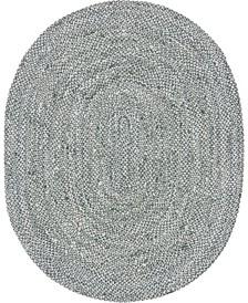 Roari Cotton Braids Rcb1 Gray 8' x 10' Oval Area Rug