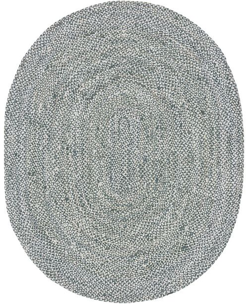 Bridgeport Home Roari Cotton Braids Rcb1 Gray 8' x 10' Oval Area Rug