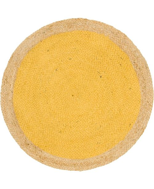 "Bridgeport Home Braided Jute A Bja4 Yellow 3' 3"" x 3' 3"" Round Area Rug"