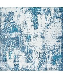 Bridgeport Home Basha Bas6 Blue 8' x 8' Square Area Rug