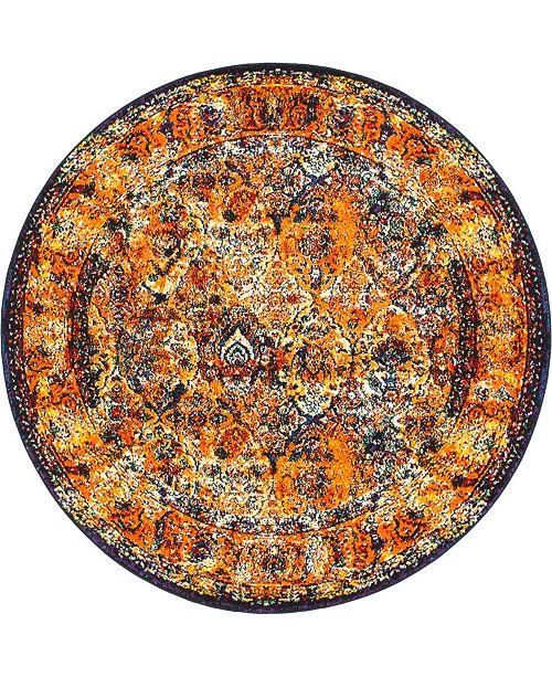 Bridgeport Home Mishti Mis1 Orange 8' x 8' Round Area Rug