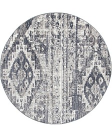 Nira Nir2 Gray 5' x 5' Round Area Rug