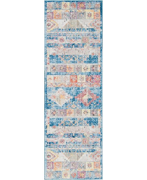 "Bridgeport Home Nira Nir4 Blue 2' 7"" x 8' 2"" Runner Area Rug"