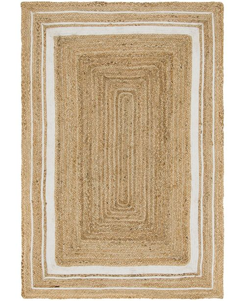 Bridgeport Home Braided Border Brb1 Natural/White 4' x 6' Area Rug