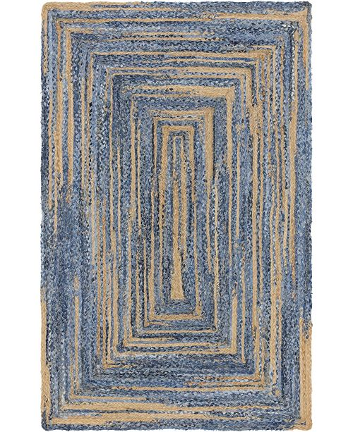 Bridgeport Home Roari Braided Chindi Rbc1 Blue/Natural 5' x 8' Area Rug