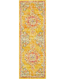 "Lorem Lor1 Gold 2' 2"" x 6' Runner Area Rug"