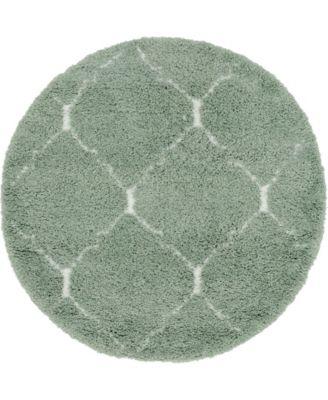 Fazil Shag Faz5 Light Green 5' x 5' Round Area Rug