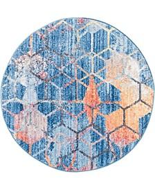 """Prizem Shag Prz1 Blue 3' 3"""" x 3' 3"""" Round Area Rug"""