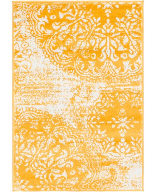 "Bridgeport Home Basha Bas7 Yellow 2' 2"" x 3' Area Rug"