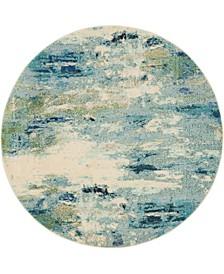 Crisanta Crs7 Light Blue 6' x 6' Round Area Rug