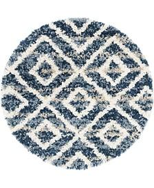 """Lochcort Shag Loc2 Blue 3' 3"""" x 3' 3"""" Round Area Rug"""