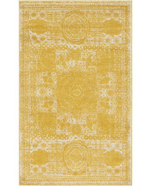 "Bridgeport Home Mobley Mob2 Yellow 5' 10"" x 8' Area Rug"