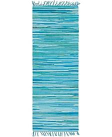 "Jari Striped Jar1 Turquoise 2' 7"" x 6' 7"" Runner Area Rug"