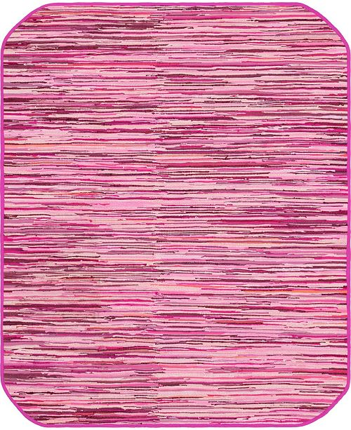 Bridgeport Home Jari Striped Jar1 Pink 8' x 10' Oval Area Rug
