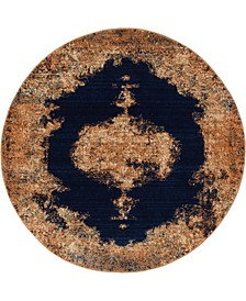 """Thule Thu2 Navy Blue 4' 5"""" x 4' 5"""" Round Area Rug"""