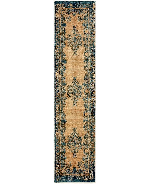 "Bridgeport Home Thule Thu3 Blue 2' 2"" x 9' 10"" Runner Area Rug"