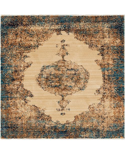 "Bridgeport Home Thule Thu2 Beige 4' 5"" x 4' 5"" Square Area Rug"