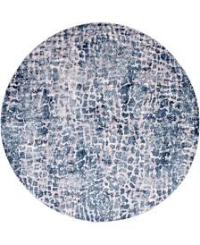 """Bridgeport Home Levia Lev3 Blue 8' 4"""" x 8' 4"""" Round Area Rug"""