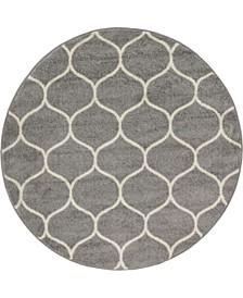 Plexity Plx2 Light Gray 4' x 4' Round Area Rug