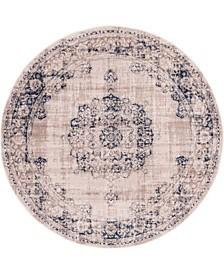 Anika Ani1 Tan/Navy 6' x 6' Round Area Rug