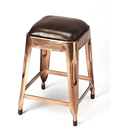 CLOSEOUT! Butler Hatcher Leather Low Stool, Quick Ship