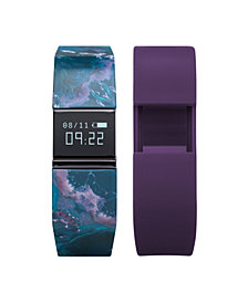 iFitness Activity Tracker with Navy Mable Printed Strap and Bonus Purple Strap